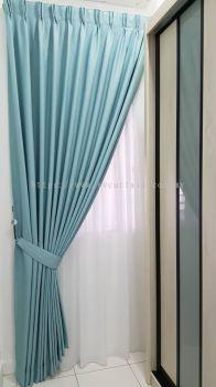 blue color curtain