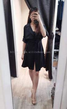 雪纺长版长袖风衣 (黑色)