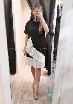 全棉新款下摆不规则设计连身裙 (黑色)
