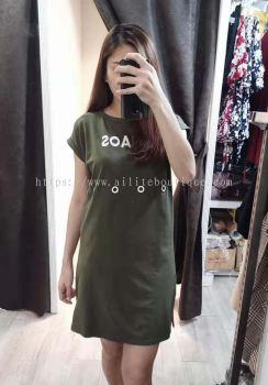 全棉绑腰设计连身裙 (军绿色)