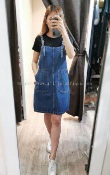 连身套装牛仔裙 (深蓝)