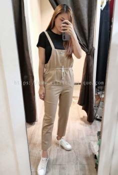 新款吊带裤收腰显瘦套装 (米色)