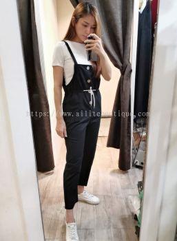 新款吊带裤收腰显瘦套装 (黑色)