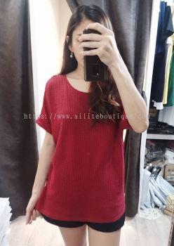 新款加大码针织上衣 (红色)