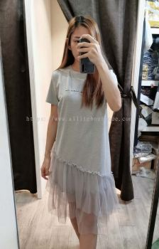 全棉拼接裙摆网纱连身裙(灰色)