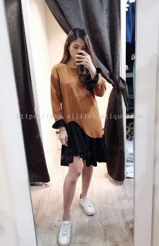 新款长袖不规则鱼尾裙摆荷叶边连身裙(褐色)