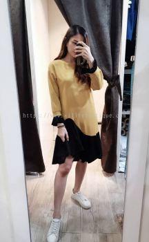 新款长袖不规则鱼尾裙摆荷叶边连身裙(姜黄色)