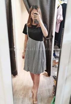 气质小洋装遮腹全棉拼接格子连身裙(黑色)