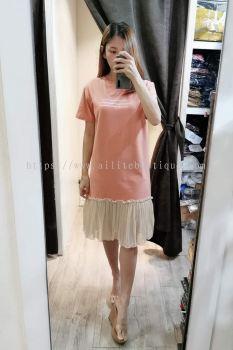 919 甜美全棉拼接雪纺纱连身裙(粉橘色)