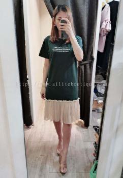 919 甜美全棉拼接雪纺纱连身裙(深青色)