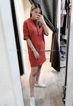 全棉连帽短袖宽松休闲连身裙(土橘色)