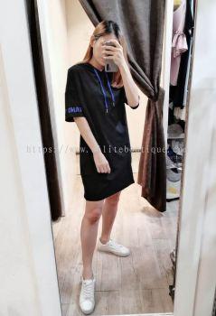 全棉连帽短袖宽松休闲连身裙(黑色)