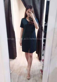 气质全棉显瘦v领口裙角开叉休闲连身裙(墨绿色)