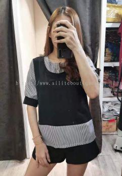 韩版假两件式上衣 (黑色)