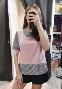 韩版假两件式上衣 (粉色)