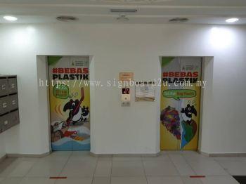Selangor Hijau dan Bersih Inkjet Eco solvent Sticker on lift at Jabatan Kehakiman Syariah Negeri Selangor Malaysia