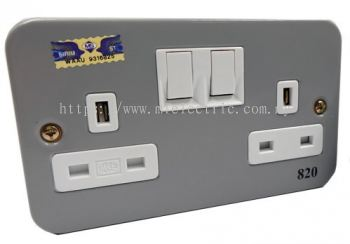 ME 820 2GANG METAL CLAD SWITCH SOCKET