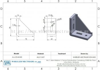L Bracket for Alu Profile 40 x 80