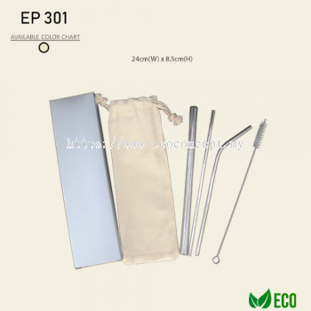 Eco Stainless Steel Straw Set