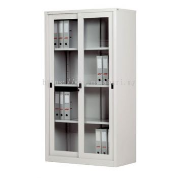 Full Height Cupboard with Glass Sliding Door C/W 3 Adjustable Shelves
