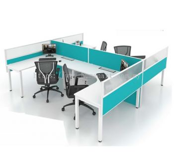 OPEN CONCEPT 4 WORKSTATION 1 WITH METAL N LEG & MOBILE PEDESTAL 3D