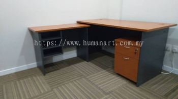 DELIVERY INSTALLATION RECTANGULAR WRITING TABLE WOODEN BASE C/W SIDE TABLE & MOBILE PEDESTAL 1D1F GENERAL SET OFFICE FURNITURE ONE PUCHONG BUSINESS PARK, PUCHONG