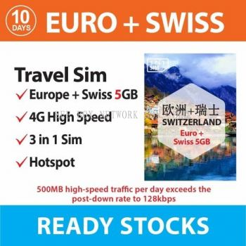 Europe+Switzerland 10 days - 5GB / 50S44