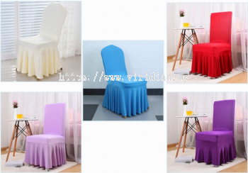 Pleated Skirt Spandex Chair Cover