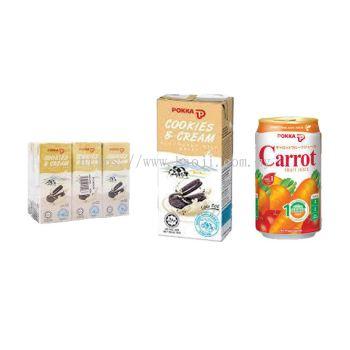 Pokka Cookies and Cream & Carrot Fruit Juice