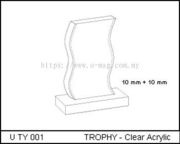 U TY 001 TROPHY - Clear Acrylic