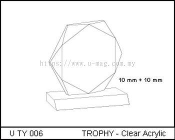 U TY 006 TROPHY - Clear Acrylic
