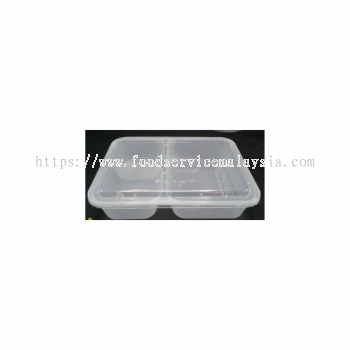 MS1200 TC 3 Compartment Rectangular Container With Lids (50��s x 6 pkt)