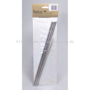 3PCS REUSABLE STAINLESS STEEL STRAW (26.5CM STRAIGHT) + 1PC BRUSH - D2002-90