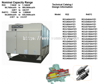 Hitachi Air-Cooled Chiller RCU-AHYZ1 & RCUG-AHYZ1