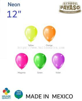 "12"" NEON COLOR BALLOON (100 PCS/PKT)"