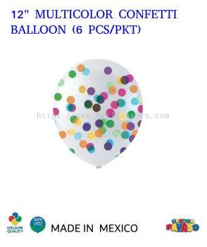 """12"""" MULTICOLOR CONFETTI BALLOON (6 PCS/PKT)"""
