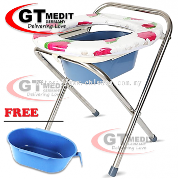 ��RM32.30 ��Foldable Stainless Steel Commode Chair Bath Shower Mobile Potty Toilet Seat + Urine Tray / Tandas Kerusi