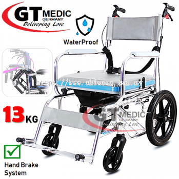 �� RM365.00��GT MEDIC GERMANY Aluminium Foldable Commode Wheel Chair Bath Shower Mobile Potty Toilet Seat Wheelchair / Kerusi Roda