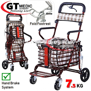 �� RM148.00��Foldable Senior Shopping Trolley Wheelchair Mobility Aid Walker Travel Transport Wheel Chair + Basket / Kerusi Roda