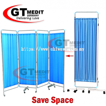 �� RM339.00��4 Section Stainless Steel Ward Screen Curtain Movable Foldable Hospital Bed Panels