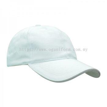 Single Colour Cotton Brush Cap (CP01E/62) (White)