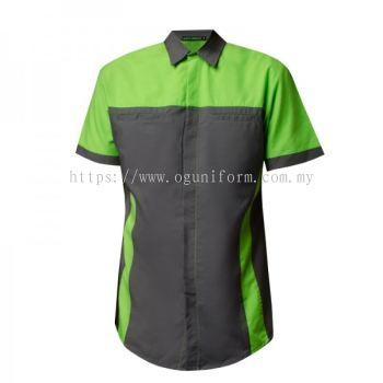 Unisex Short Sleeve Shirt (NHB18M-445) (Dark Charcoal/Lime)
