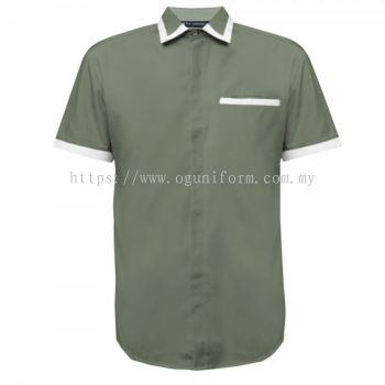 Unisex Short Sleeve Shirt (NHB19M-445) (Charcoal/White)