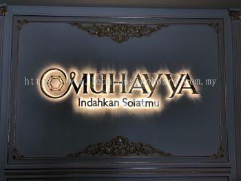 3d Stainless Steel Gold Mirror Led Backlit Effect (Muhayya Signboard) at Kajang