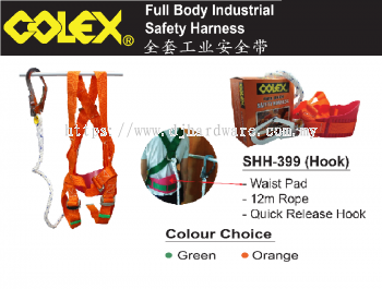 COLEX FULL BODY INDUSTRIAL SAFETY HARNESS SHH399 HOOK (BS)