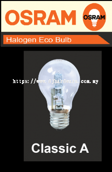 OSRAM LIGHT BULB HALOGEN ECO BULB CLASSIC A (WS)