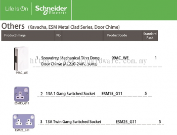 SCHNEIDER ELECTRIC KAVA ESM METAL CLAD SERIES DOOR CHIME 13A 1GANG SWITCHED SOCKET (WS)