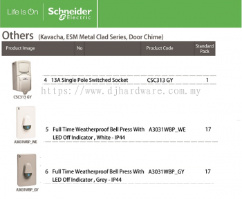 SCHNEIDER ELECTRIC KAVA ESM METAL CLAD SERIES DOOR CHIME 13A SINGLE POLE SWITCHED SOCKET (WS)