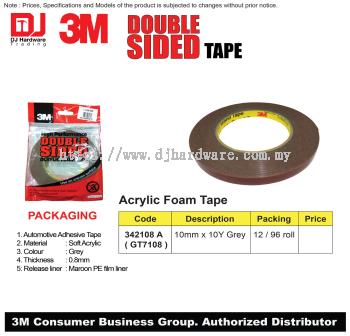 3M DOUBLE SIDED TAPE ACRYLIC FOAM TAPE 10MM X 10Y GREY 342108A GT7108 (CL)