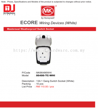 MK HONEYWELL ECORE WIRING DEVICES WHITE MASTERSEAL WEATHERPROOF SWITCH SOCKET MK86486WHI 13A 1 GANG SWITCH SOCKET 86486-TC-WHI (CL)